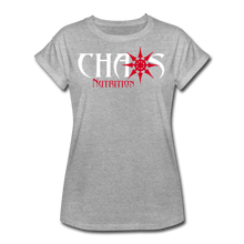 Chaos Fit-Wear - Premium Women's S/S Tee With Red & White Logo - heather gray