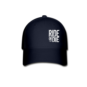 CHAOS FIT WEAR - RIDE OR DIE FLEX FIT HAT - BLACK WITH WHITE LOGO - navy