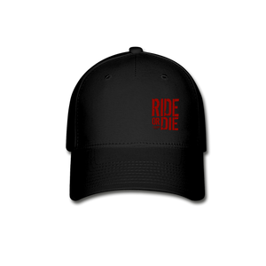 CHAOS FIT WEAR - RIDE OR DIE FLEX FIT HAT - BLACK WITH RED LOGO - black