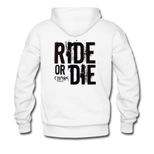 RIDE OR DIE, HOODIE WITH BLACK LETTERING - white