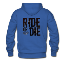 RIDE OR DIE, HOODIE WITH BLACK LETTERING - royal blue