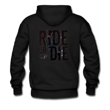 RIDE OR DIE, HOODIE WITH BLACK LETTERING - black
