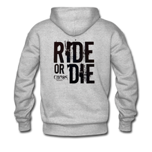 RIDE OR DIE, HOODIE WITH BLACK LETTERING - heather gray