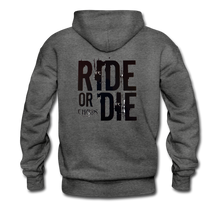 RIDE OR DIE, HOODIE WITH BLACK LETTERING - charcoal gray