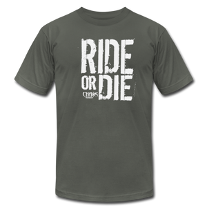 RIDE OR DIE - T-SHIRT with WHITE LOGO - asphalt