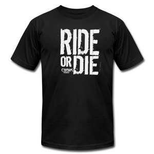 RIDE OR DIE - T-SHIRT with WHITE LOGO - black