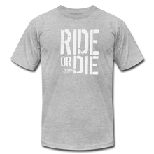 RIDE OR DIE - T-SHIRT with WHITE LOGO - heather gray