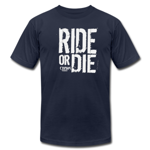 RIDE OR DIE - T-SHIRT with WHITE LOGO - navy
