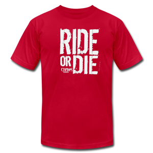 RIDE OR DIE - T-SHIRT with WHITE LOGO - red