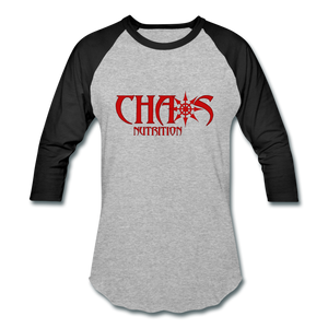 CHAOS NUTRITION  - PREMIUM 3/4 SLEEVE BASEBALL T-SHIRT- RED LOGO - heather gray/black