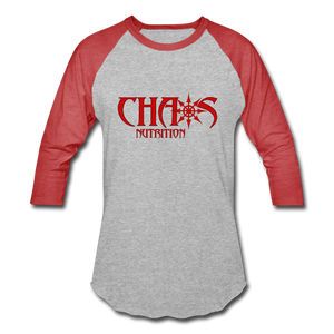 CHAOS NUTRITION  - PREMIUM 3/4 SLEEVE BASEBALL T-SHIRT- RED LOGO - heather gray/red