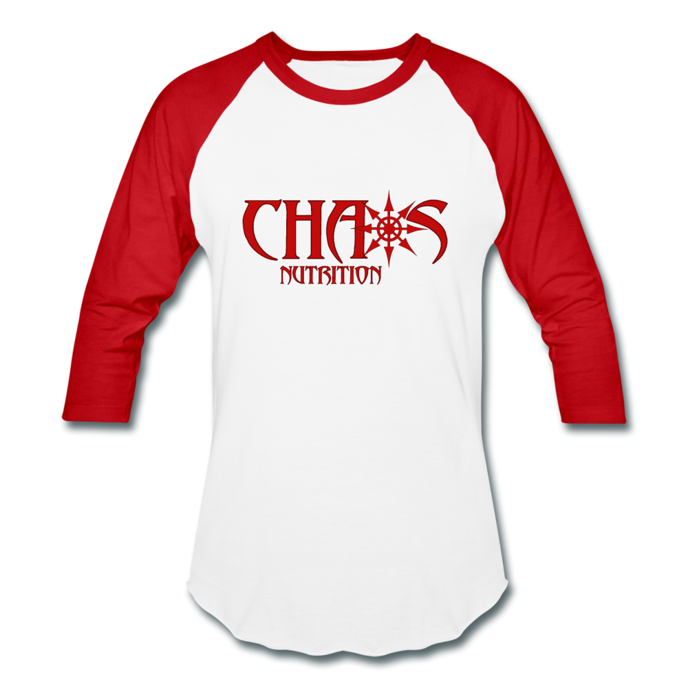 CHAOS NUTRITION  - PREMIUM 3/4 SLEEVE BASEBALL T-SHIRT- RED LOGO - white/red