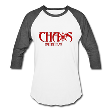 CHAOS NUTRITION  - PREMIUM 3/4 SLEEVE BASEBALL T-SHIRT- RED LOGO - white/charcoal