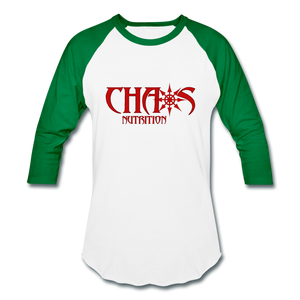 CHAOS NUTRITION  - PREMIUM 3/4 SLEEVE BASEBALL T-SHIRT- RED LOGO - white/kelly green
