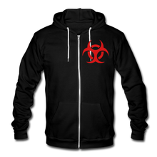 RIDE OR DIE- PREMIUM UNISEX ZIP HOODIE - RED LETTERING - black