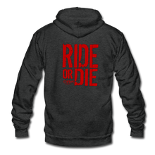 RIDE OR DIE- PREMIUM UNISEX ZIP HOODIE - RED LETTERING - charcoal gray