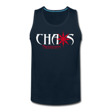 CHAOS NUTRITION, Black Tank Top with Red - White Lettering - deep navy