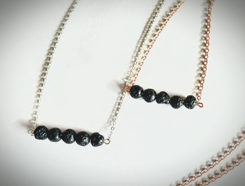 Essential Oil Diffuser 5 Lava Stone Beaded Necklace - Mind And Body Accessories