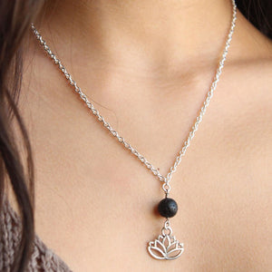 Essential Oil Diffuser- Lava Bead Necklace With Lotus Charm - Mind And Body Accessories