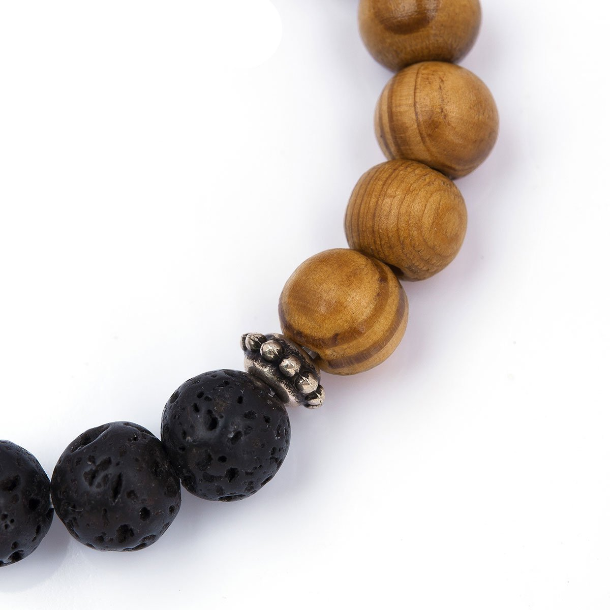 Wooden Beaded Healing Bracelet With Lava Stone - Mind And Body Accessories