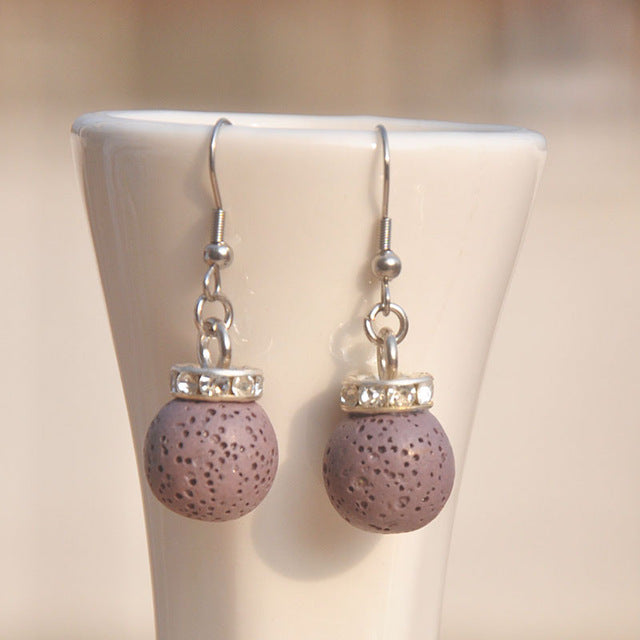 Black Natural Lava Stone Beaded Earrings - Mind And Body Accessories