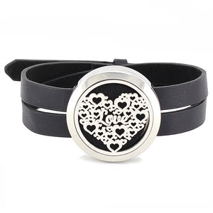 Essential Oil Diffuser Wrap Bracelet with Double Leather Band (turtle, hearts and more!) - Mind And Body Accessories
