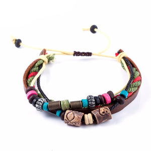 Wooden Beaded Leather Bracelets with Lava Stones - Mind And Body Accessories