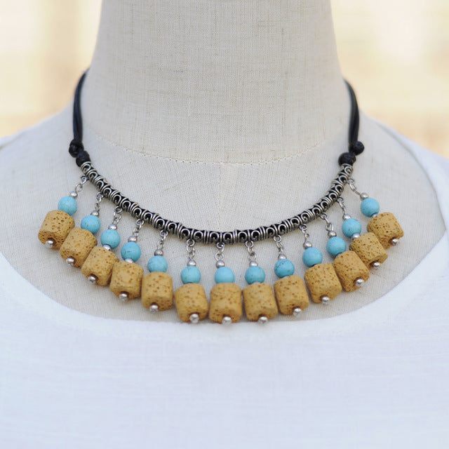 Statement Choker Necklaces with Lava Stone Beads - Mind And Body Accessories