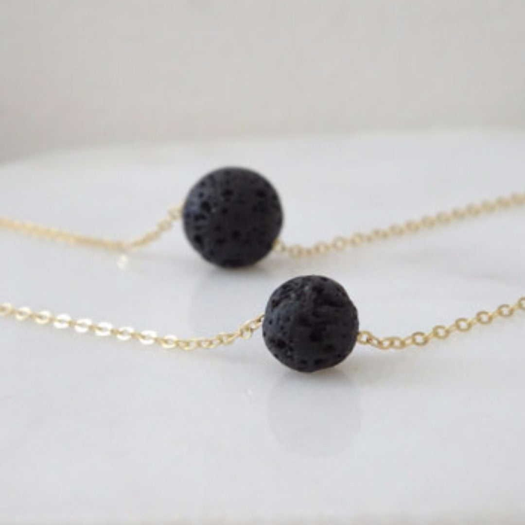 Two Layer Black Lava Rock Essential Oil Diffuser Necklace - Mind And Body Accessories