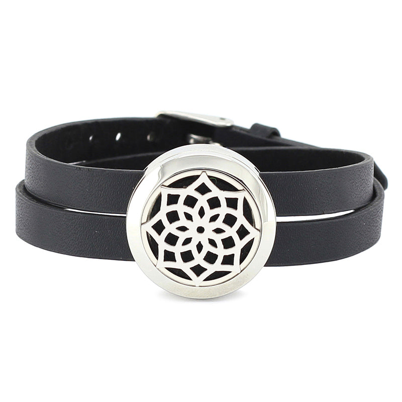 Essential Oil Diffuser Wrap Bracelet with Double Leather Band (Tree & Other Patterns) - Mind And Body Accessories