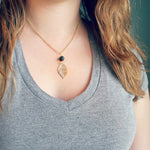 Lava Stone Essential Oil Diffuser Necklace With Delicate Leaf Charm - Mind And Body Accessories