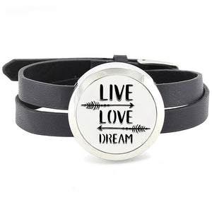 Essential Oil Diffuser Wrap Bracelet with Double Leather Band - Live love dream & more - Mind And Body Accessories