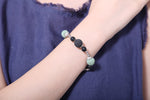 Round Green, Black & White Lava Stone Beaded Bracelet - Mind And Body Accessories