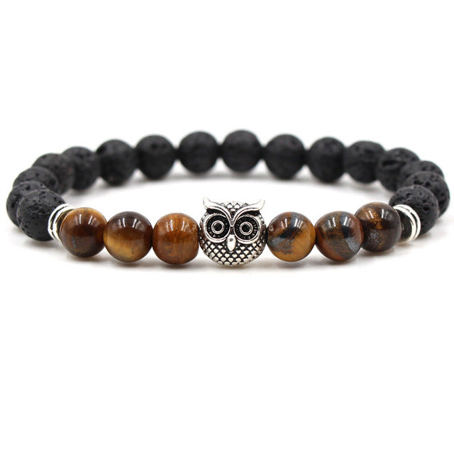 Black Lava Stone Essential Oil Diffuser Bracelet - Owl - Mind And Body Accessories