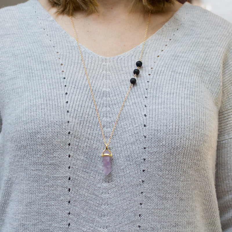 Lava Stone Essential Oil Diffuser Necklace with Natural Stone Quartz - Mind And Body Accessories