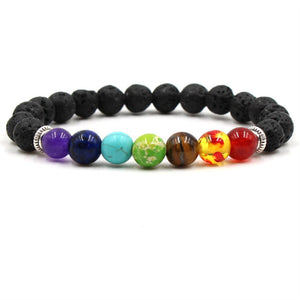 7 Chakra Mala Bracelet Healing Bracelet with Lava Stones - Mind And Body Accessories