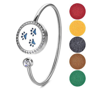 25mm Stainless Steel Essential Oil Diffuser Locket Bangle with Crystal - Mind And Body Accessories
