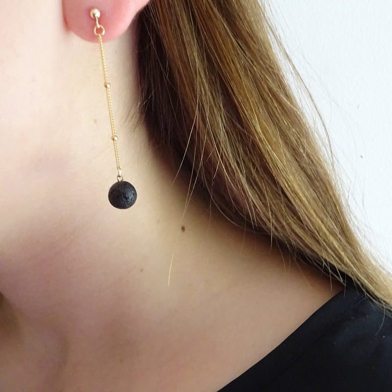 Long Essential Oil Diffuser Drop Earring With Black Lava Stone - Mind And Body Accessories
