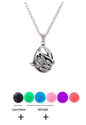 Whimsical Lava Stone Essential Oil Necklace with Pendants - Mind And Body Accessories