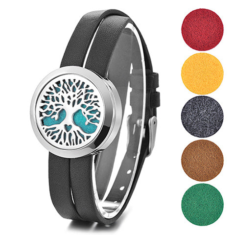 Essential Oil Diffuser Wrap Bracelet with Double Leather Band- (30mm Charm size) - Mind And Body Accessories