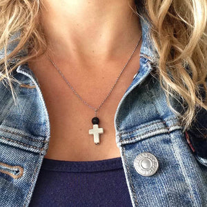 Lava Stone Essential Oil Diffuser Necklace With Cross Pendant - Mind And Body Accessories