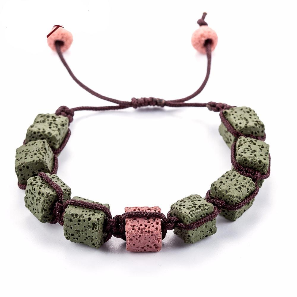 Shamballa Style Square Lava Stone Bracelets - Mind And Body Accessories