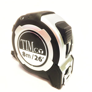 Timco 8 metre tape measure black/silver 8MTAPEM