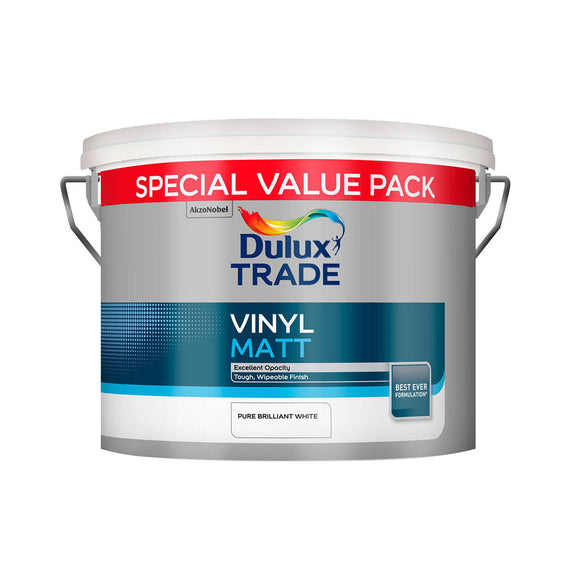 Dulux Trade Vinyl Matt Pure Brilliant White 10L