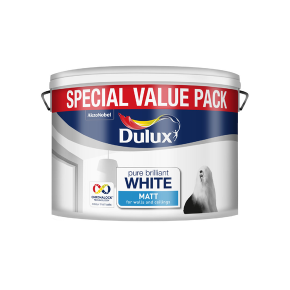 dulux pure brilliant white paint horley crawley matt emulsion decorating white paint