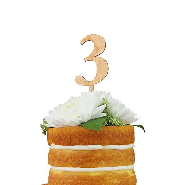 Num 0-9 Wood Stake Cake Topper - Fancy That