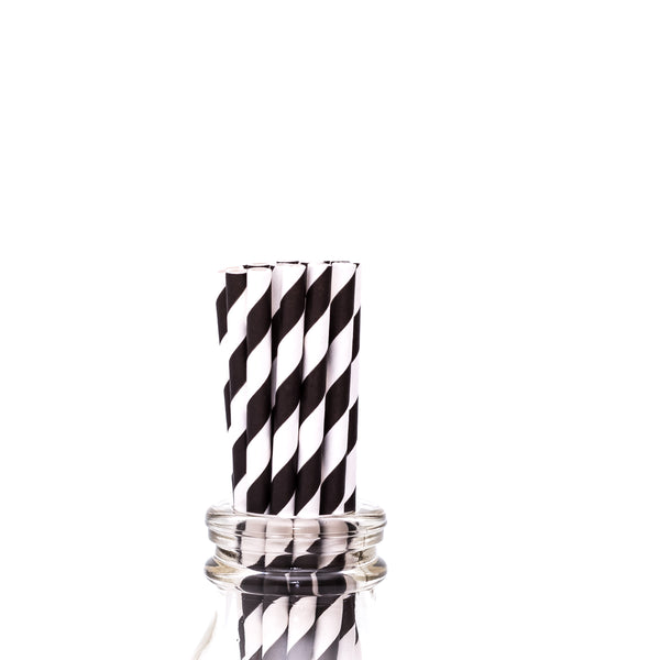 Black Striped Straws