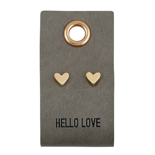 Leather Tag With Earrings - Heart - Fancy That