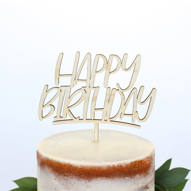 Happy Birthday Wood Cake Topper - Fancy That