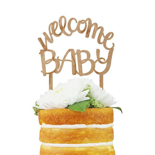Welcome Baby Script Cake Topper (Cherry Wood) - Fancy That